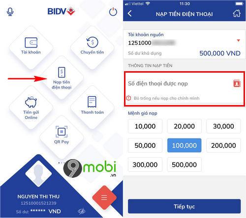 cach nap tien dien thoai bang bidv smart banking 3