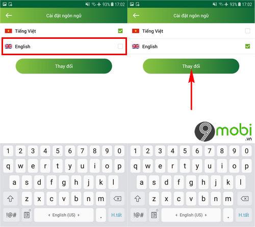 Cách đổi ngôn ngữ tiếng Việt, Anh trên ứng dụng Vietcombank