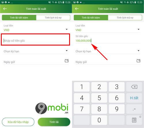 Tính lãi suất tiết kiệm Vietcombank trên điện thoại