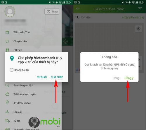 Tìm ATM, Chi nhánh Vietcombank trên điện thoại