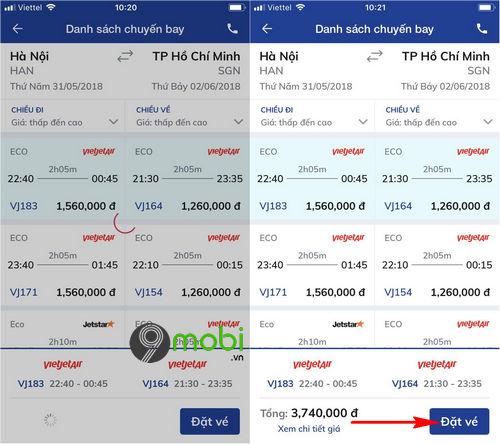 dat ve may bay bang ung dung bidv smart banking 8