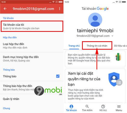 cach doi so dien thoai gmail trong app gmail tren di dong 4