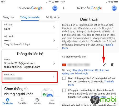 cach doi so dien thoai gmail trong app gmail tren di dong 5