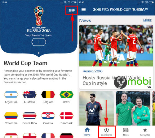 cach cap nhat ket qua world cup tren dien thoai 4