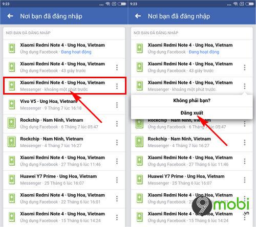 cach thoat nick facebook messenger tren dien thoai iphone android 5