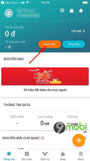 cach nap tien the cao bang ung dung my viettel 3