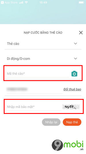 cach nap tien the cao bang ung dung my viettel 5