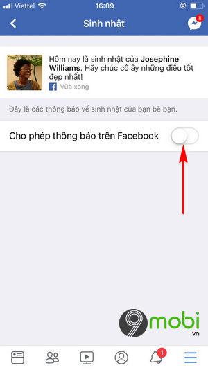 cach bat tat thong bao sinh nhat facebook tren iphone 6