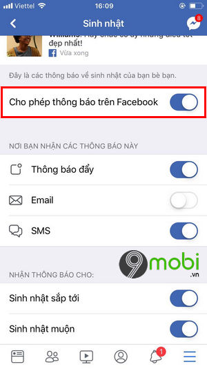 cach bat tat thong bao sinh nhat facebook tren iphone 8