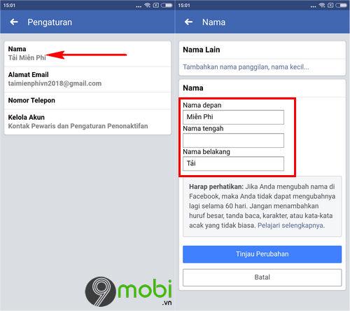 huong dan cach doi ten facebook 1 chu tren dien thoai android iphone 6