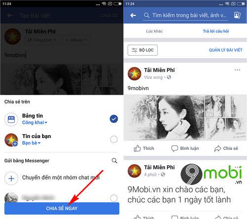 cach dang bai facebook tren dien thoai 9
