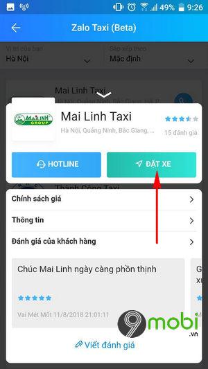 dat xe taxi bang zalo tren dien thoai 7