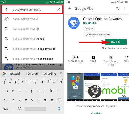tai va cai dat google opinion rewards cho android iphone nhu the nao 3