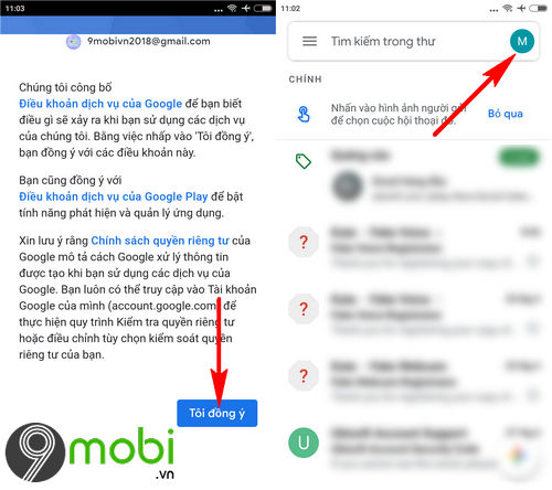 cach dang nhap gmail tren ung dung gmail cho dien thoai 5