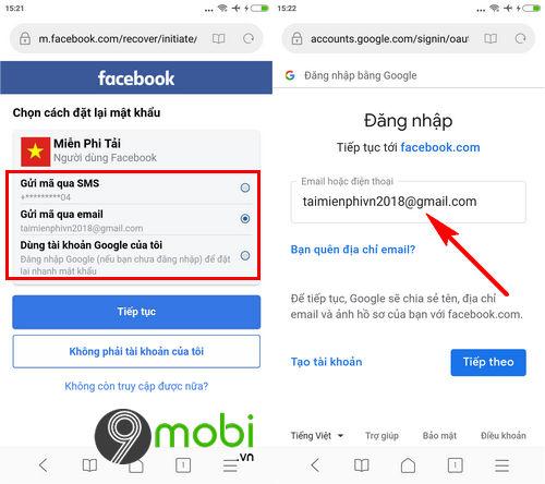 link lay lai mat khau facebook bang email sdt 3