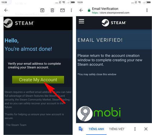 Đăng ký Steam, tạo tài khoản Steam trên điện thoại