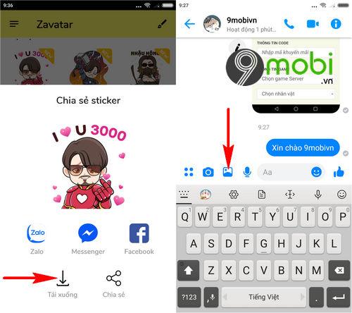 huong dan dung sticker avengers endgame trong facebook messenger 3