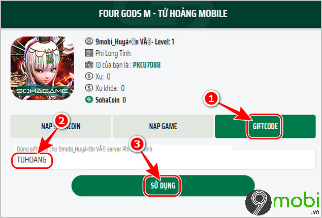 cach su dung code game tu hoang mobile