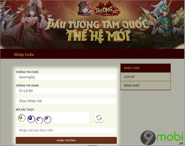 nhap code game tan omg3q