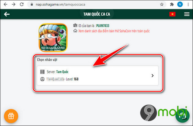 cach nhap giftcode game tam quoc ca ca