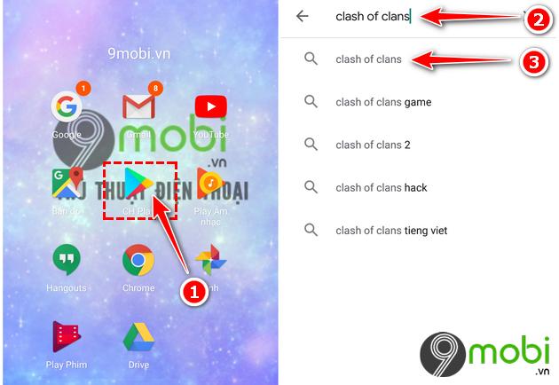 cach tai va cai dat clash of clans tren google play khi bi chan 3
