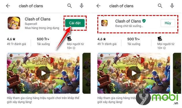 cach tai va cai dat clash of clans tren google play khi bi chan 4