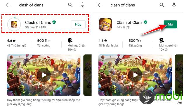 cach tai va cai dat clash of clans tren google play khi bi chan 5