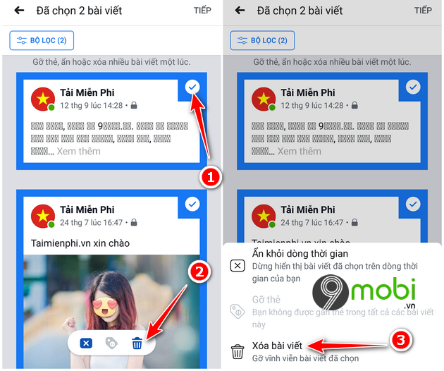 cach an xoa hang loat bai dang facebook tren dien thoai 8