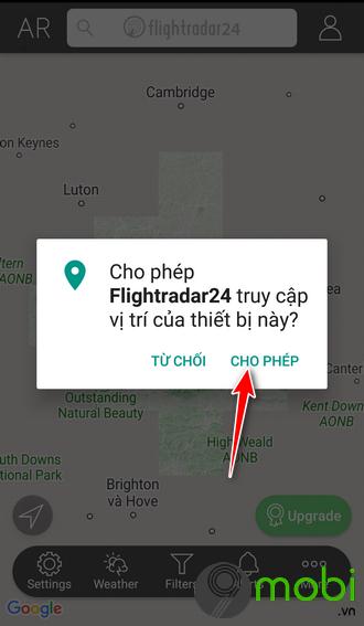 su dung flightradar24 tren dien thoai