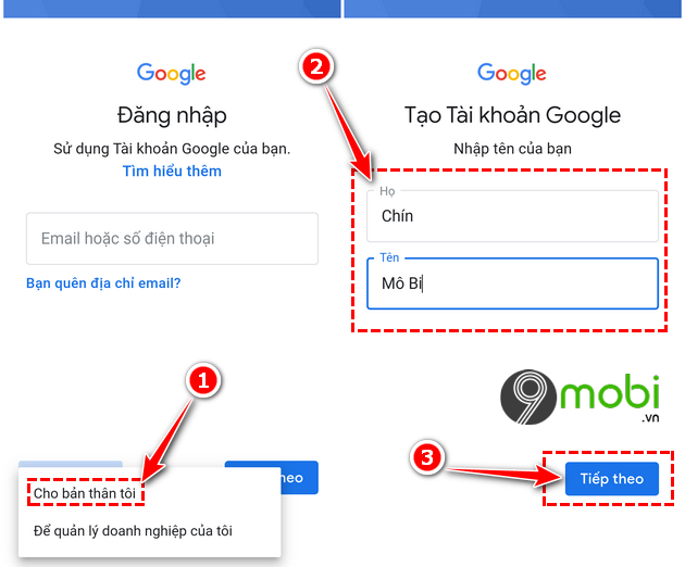 dang ky gmail khong can so dien thoai tren android