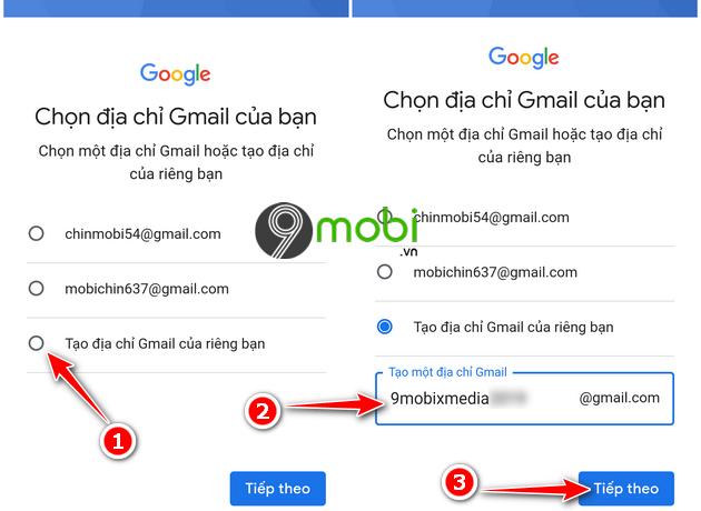 dang ky gmail khong can so dien thoai tren mobile