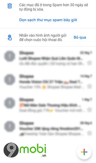 tim thu spam trong gmail