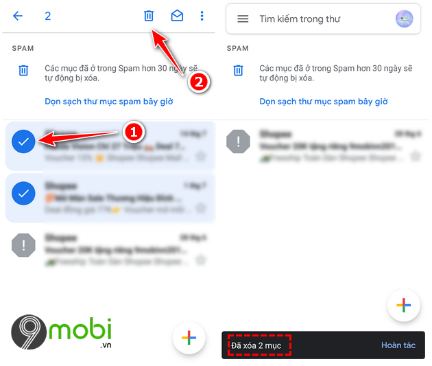 cach tim thu spam trong gmail