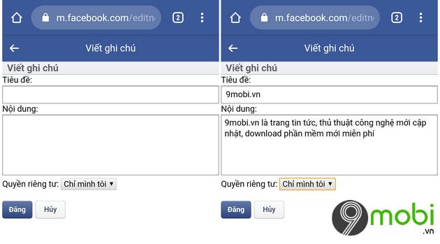 tao ghi chu tren facebook tren dien thoai android