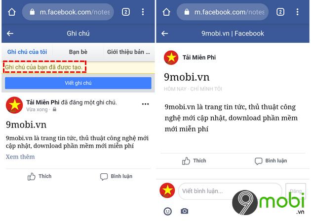 tao ghi chu tren facebook tren iphone