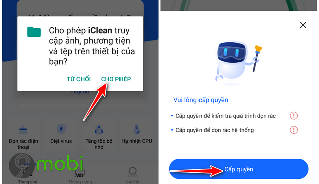 cach su dung ung dung iclean tren dien thoai android