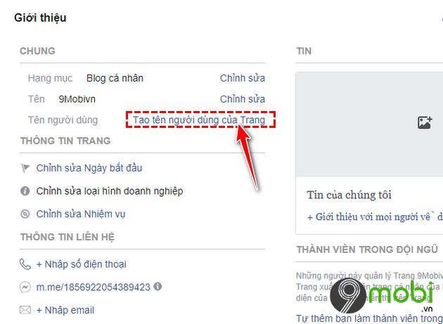 thay doi url fanpage facebook tren android