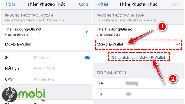 huong dan them vi momo vao tai khoan apple id