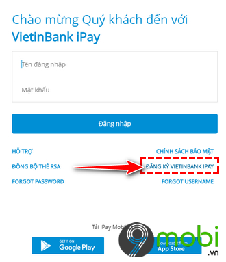 dang ky internet banking vietinbank tren trinh duyet dien thoai smartphone