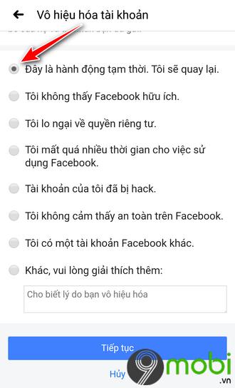 huong dan vo hieu hoa tai khoan facebook tam thoi