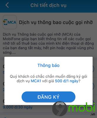 dang ky thong bao cuoc goi nho mca tren my mobifone