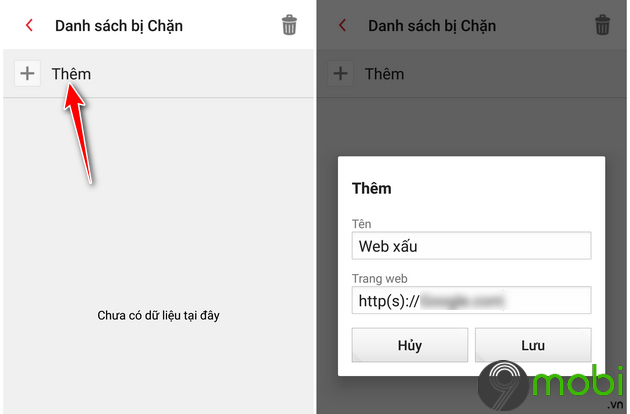 cach chan websites tren dien thoai android 8
