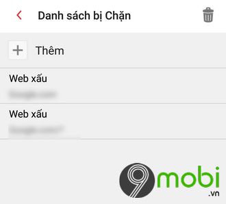cach chan websites tren dien thoai android 9