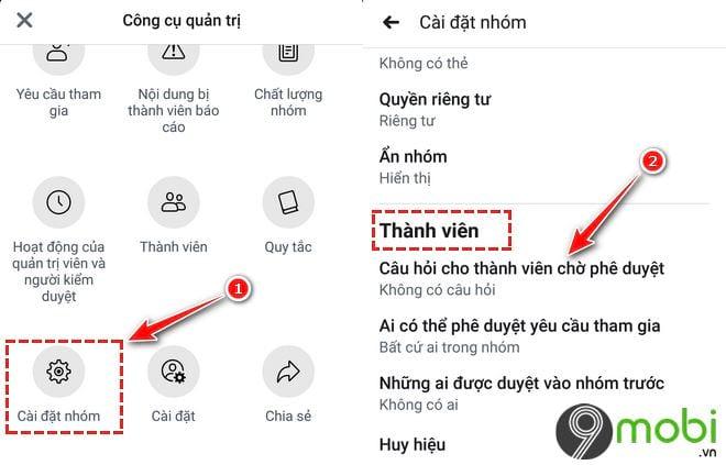 cach dat cau hoi cho thanh vien muon vao group facebook tren dien thoai 3