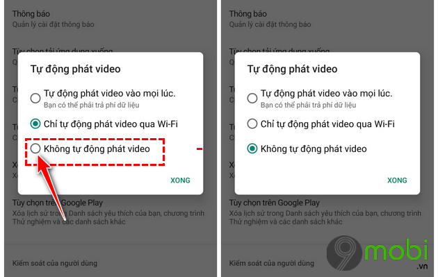 cach vo hieu hoa che do tu dong xem video trong ch play tren android
