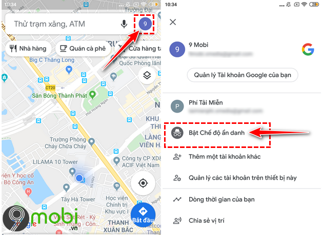 che do an danh tren google maps