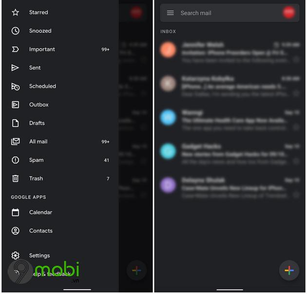 bat che do dark mode cho gmail tren iphone