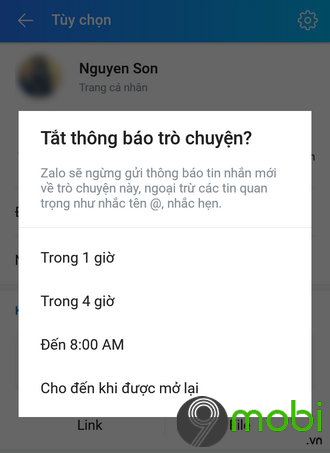 tat thong bao tin nhan zalo cua ban be