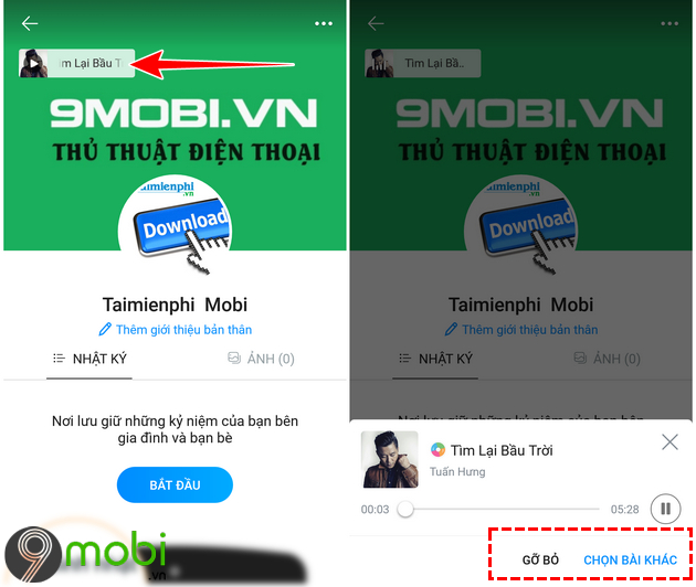 cach chen bai hat yeu thich cho trang ca nhan zalo tren android iphone