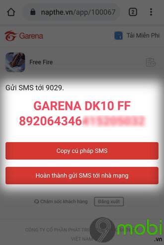 cach nap kim cuong game free fire bang sms tren dien thoai